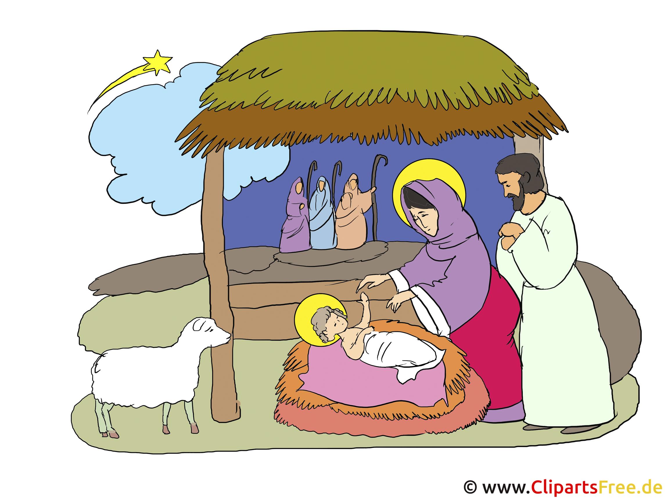 Krippe Weihnachten Clipart-Illustration