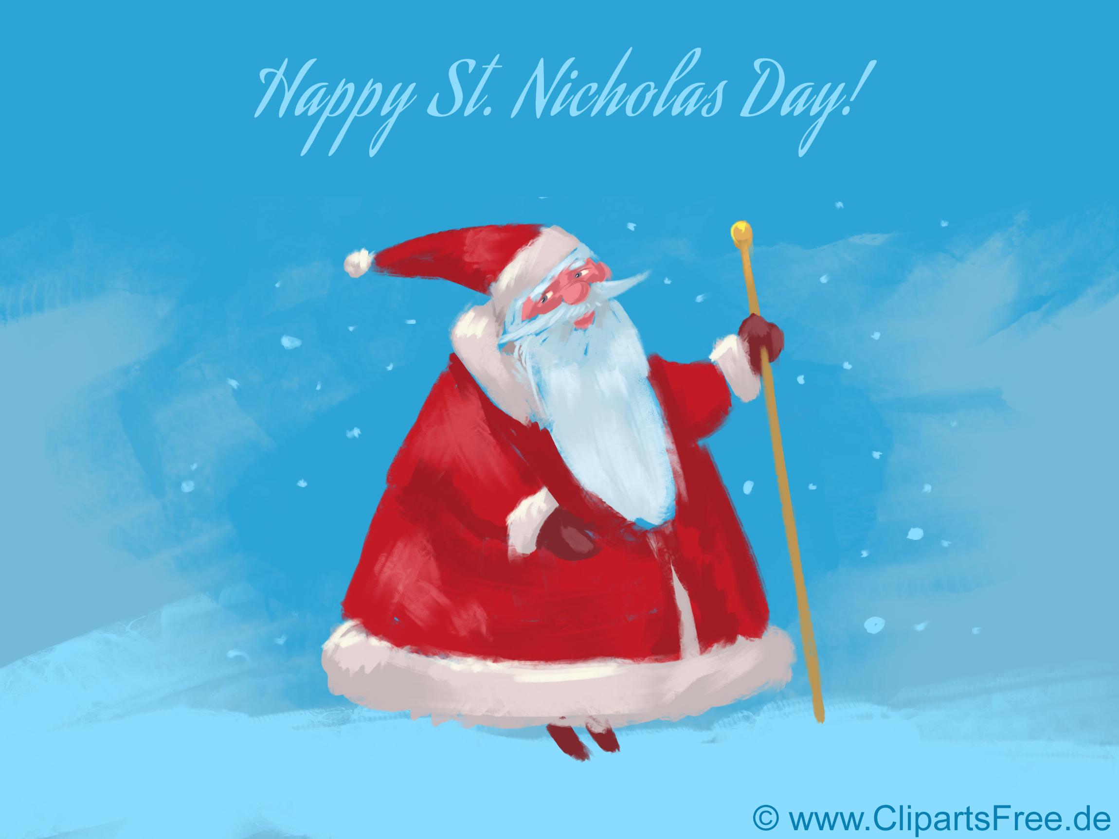 Lustige Nikolaus Grußkarte kostenlos zum Drucken