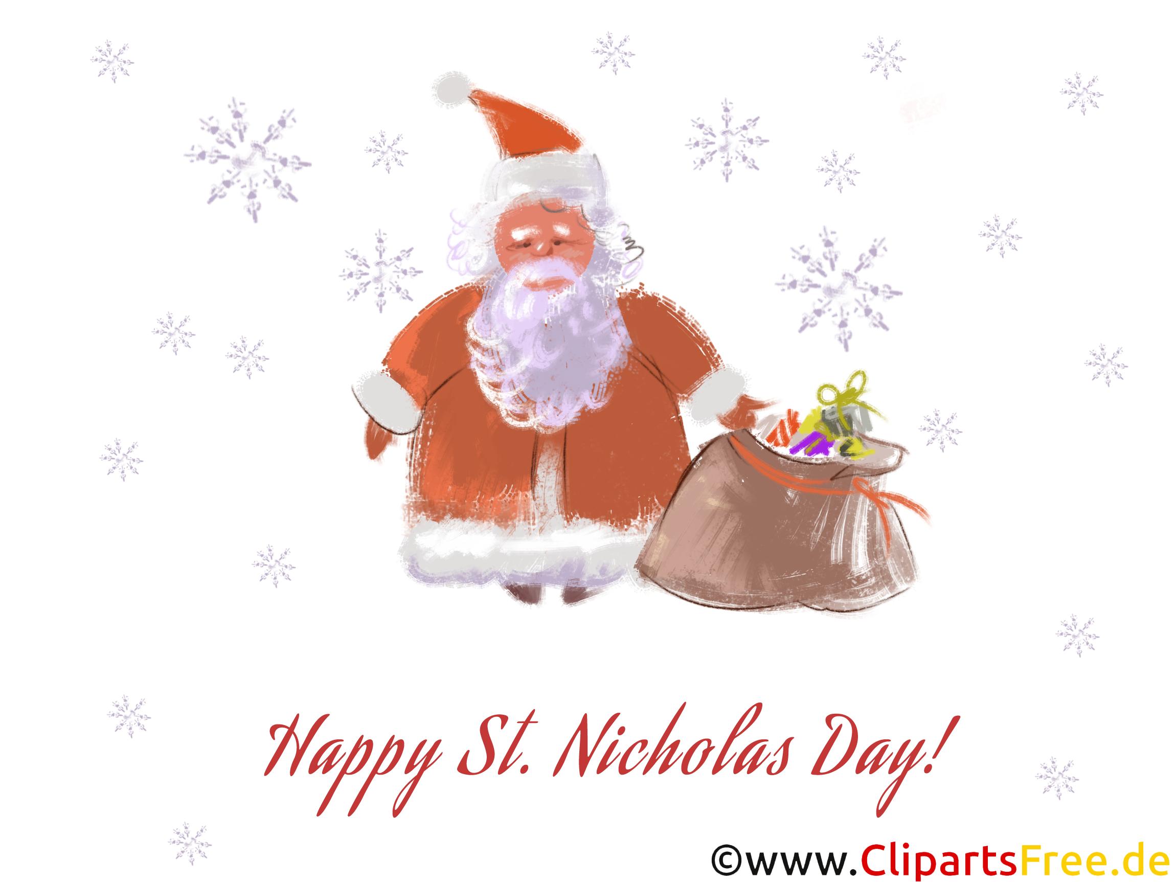Sankt Nikolaus mit Geschenken Clipart, Illustration