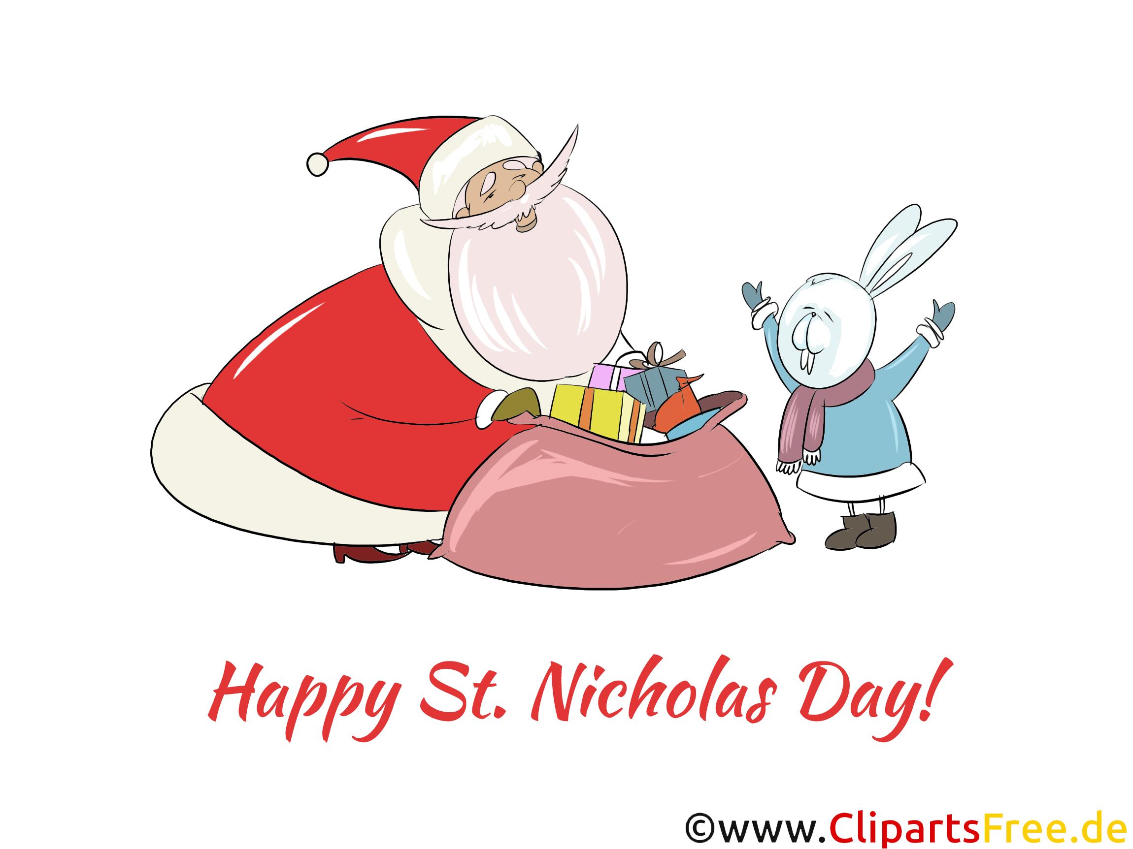 Schönes Nikolausfest Clipart, Grafik, e-Card zum Drucken