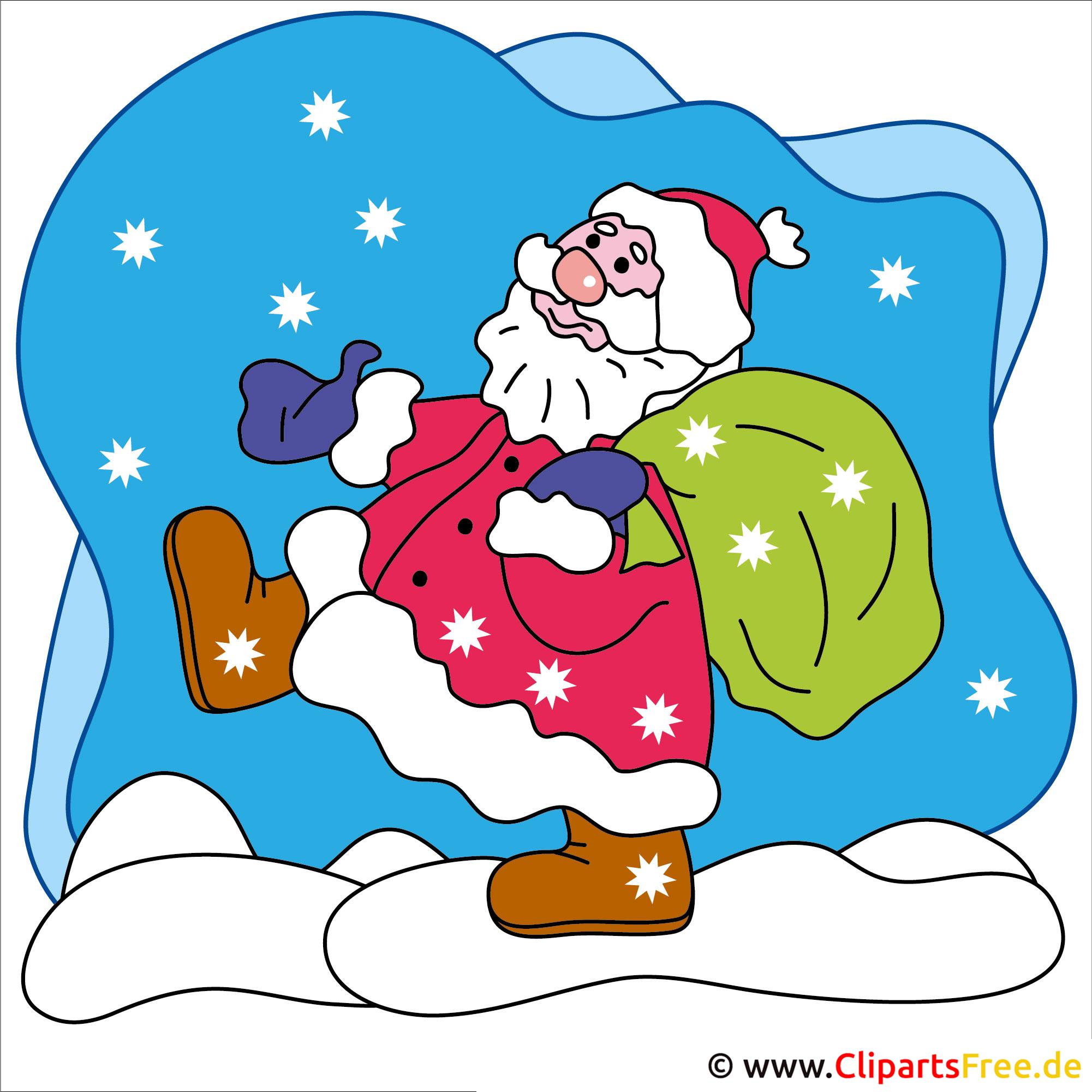 Weihnachtsclipart Weihnachtsmann Im Schnee
