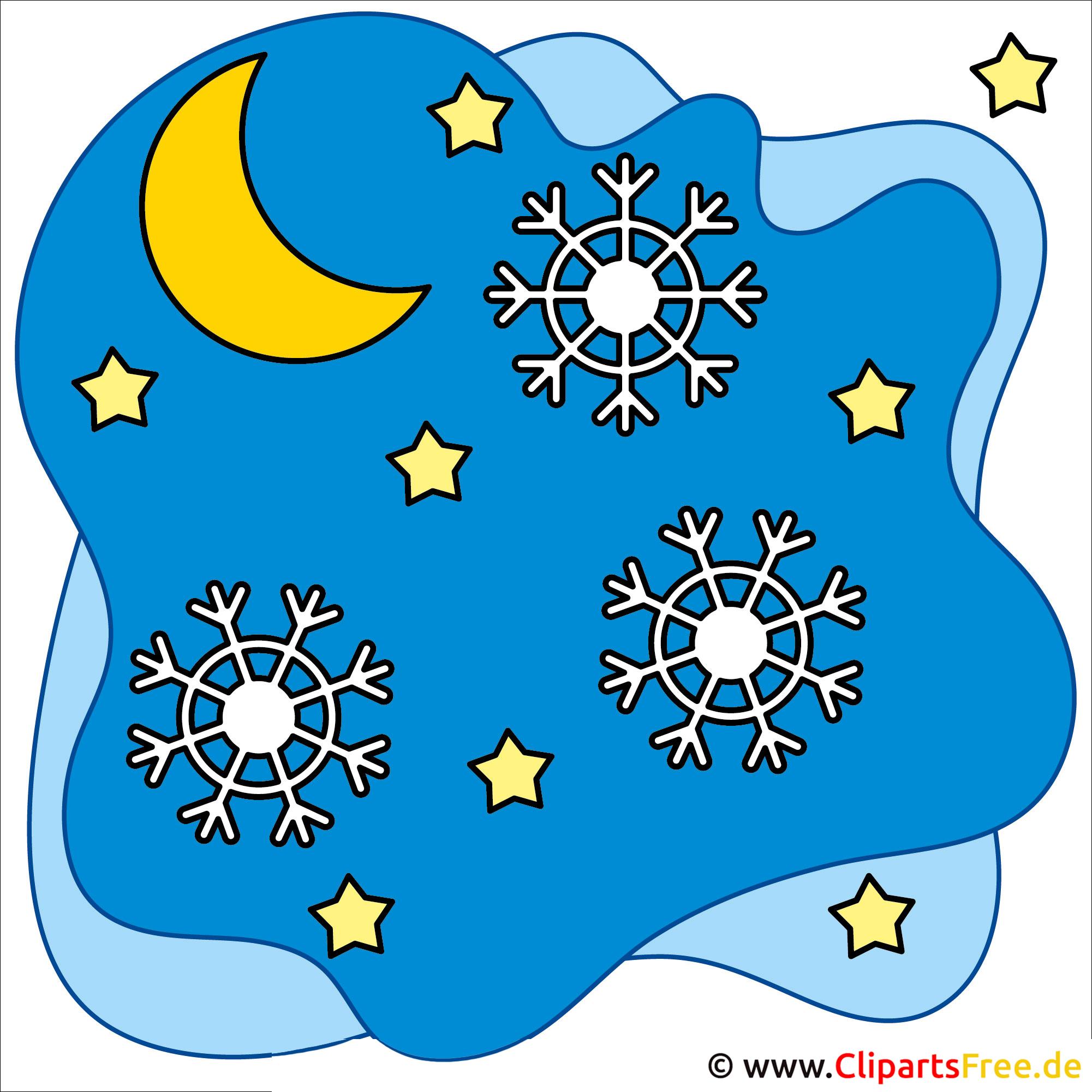 Clip Art Weihnachten Schneeflocke Im Nachtshimmel