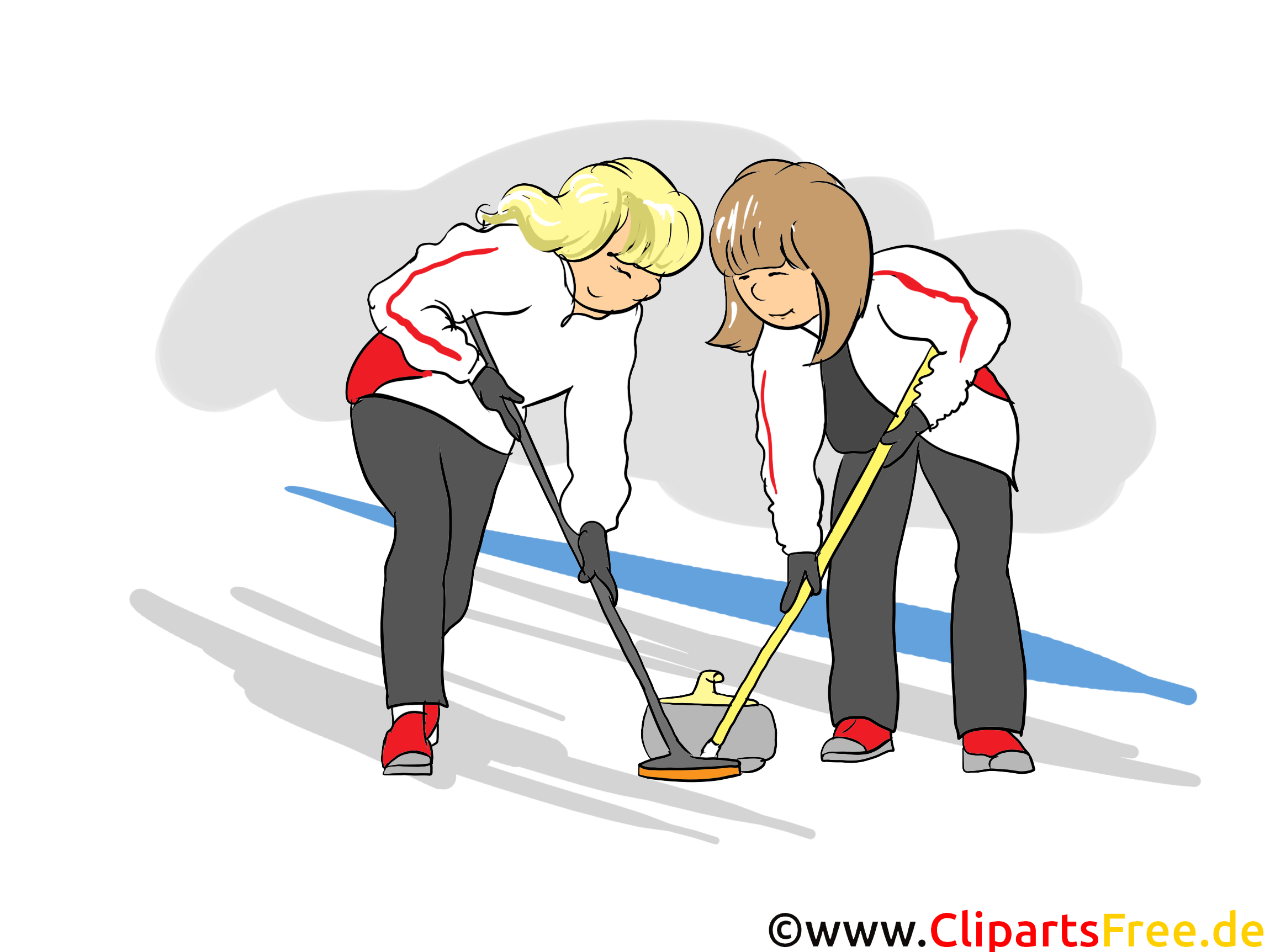 Curling Clipart, Bild, Cartoon, Comic, Illustration