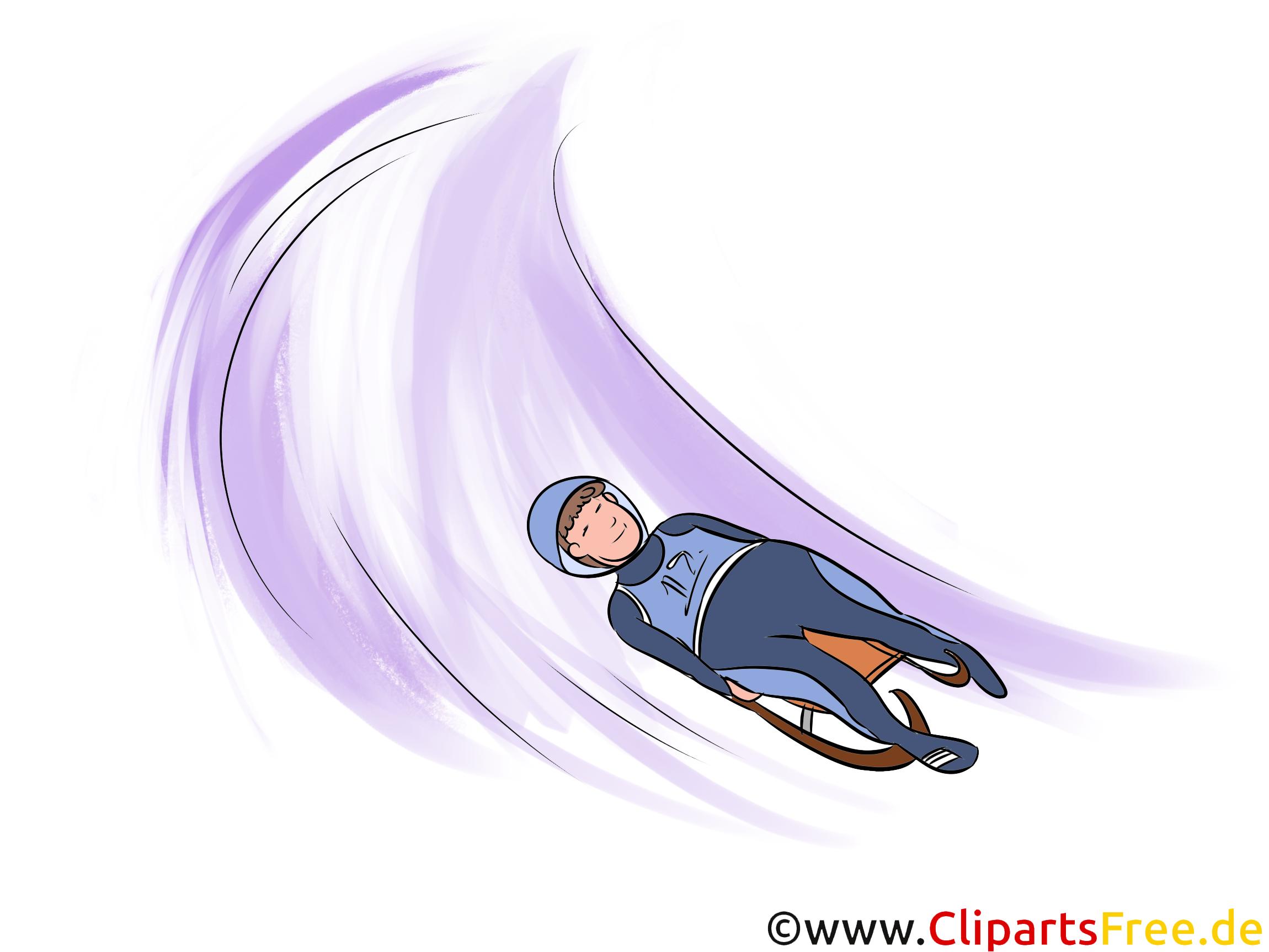 Rennrodeln Illustration - Wintersport Cliparts, Bilder