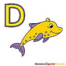 Abc afdrukbaar - afbeelding van dolfijn