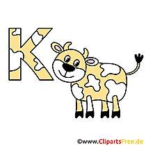 Letters in het alfabet - koe afbeelding
