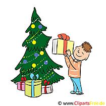 Adventbilder mit Weihnachtsbaum, Weihnachtsgeschenken und Weihnachtsdeko