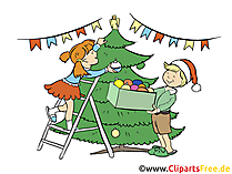 子供たちとクリスマスツリーの出現写真