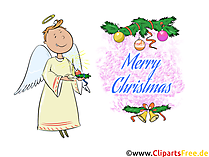 Design your own Advent card with clipart illustration with angel and pine cone