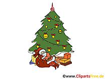 大晦日 - クリスマスツリーとサンタクロース