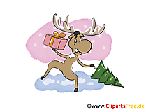 Elch vom Santa Claus Bild, Clip Art, Image, Cartoon gratis