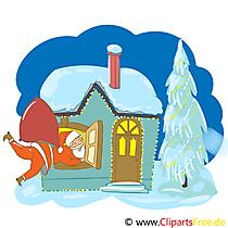 雪の中の家クリップアート