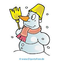 雪だるまのバケツ漫画、絵