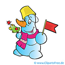 Schneemann mit Flagge Clipart, Bild, Cartoon, Grafik, Illustration