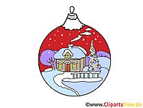 冬の動機のクリスマスツリーのボール