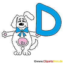 D is voor Dog - letters om te printen