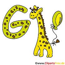 G is voor Giraffe - Briefsjablonen voor afdrukken