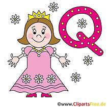 Q als voor Queen - Letter stencils voor afdrukken