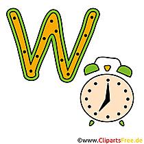 W is voor Watch - Letters voor afdrukken