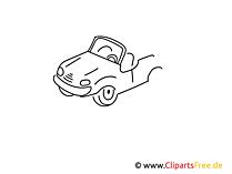Cabrio einfache Weitermal Druckvorlage für Schule