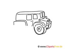 Geländewagen einfache Weitermal Druckvorlage für Grundschule