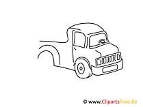 Lastwagen einfache Weitermal Druckvorlage