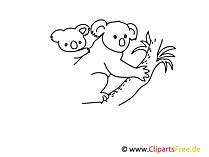 Koala einfache Weitermal Vorlage