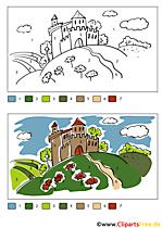 Burg Ausmalvorlage - Malen nach Zahlen kostenlos