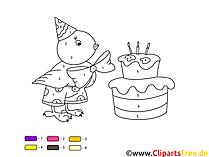 Kostenlose Malvorlage Malen nach Zahlen - Küken mit Geburtstagstorte