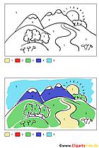 Landschaftsbild Malbild zum Ausmalen nach Zahlen gratis