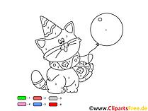 Malen nach Zahlen für Kinder Katze mit Luftballon