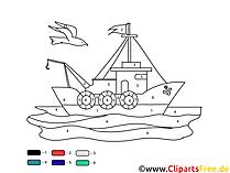 Schiff Ausmalbilder Malen nach Zahlen Vorlagen