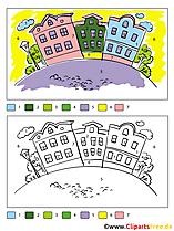 Stadt Ausmalbild Malen nach Zahlen kostenlos