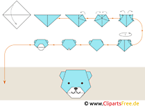 Anleitung zum Falten von Origami Bär, Tiere