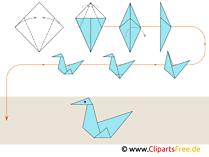 Origami Anleitungen zum Falten Vogel