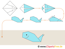 Origami Wal falten mit Papier