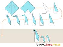 Papierfalten Origami Basteln mit Papier Pinguine