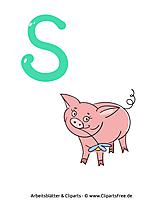 S - Lernkarten von Buchstaben zum Ausdrucken