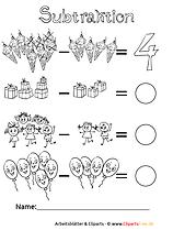 Zahlenraum bis 10 Subtraktion Aufgaben zum Drucken