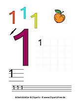1- Kostenlose Übungsblätter zum Lernen der Zahlen