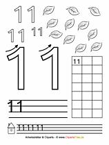 11 - Zahlen lernen Druckvorlage