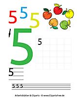 5 - Zahlen schreiben üben Druckvorlage