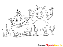 Verbinden der Zahlen Malen Aliens