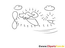 Vorlage Zeichnen nach Zahlen Hund im Flugzeug