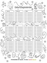 Geburtstagskalender für Kindergarten zum Drucken