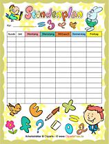 Stundenpläne im PDF-Format für Kinder