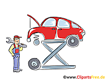 Auto auf der Hebebühne Clipart, Bild, Grafik, Cartoon, Illustration gratis