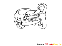 Auto reparatie illustraties zwart en wit, grafisch, pic, komisch