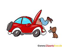 Auto reparatie jezelf afbeelding, illustratie, clipart, cartoon gratis