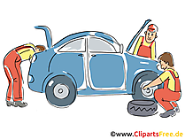 Autoservice, Inspektion Clipart, Bild, Grafik, Cartoon, Illustration gratis